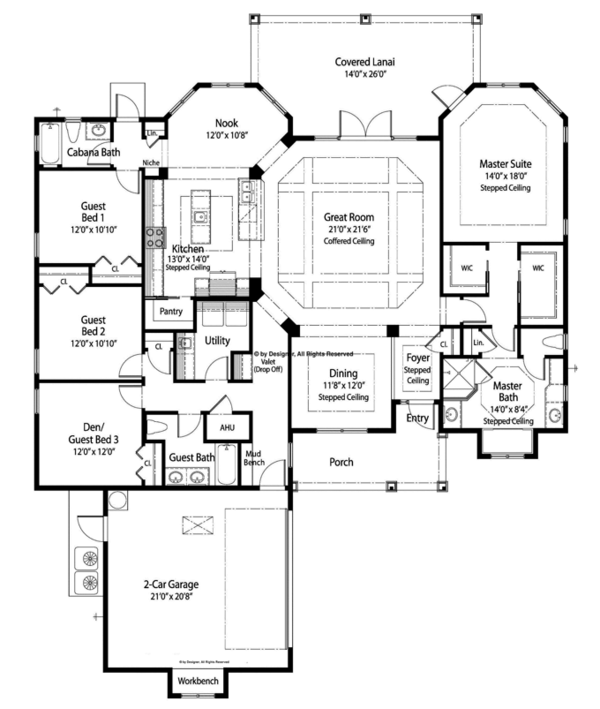Ranch Floor Plan - Main Floor Plan Plan #938-74