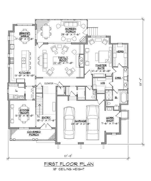 Craftsman Floor Plan - Main Floor Plan Plan #1054-38