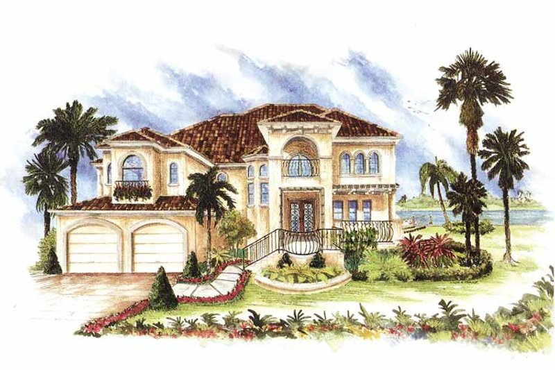 Mediterranean Exterior - Front Elevation Plan #1017-24