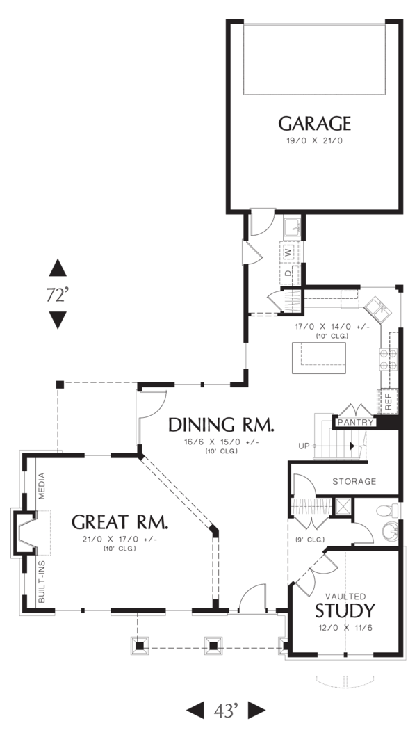 Craftsman Floor Plan - Main Floor Plan Plan #48-577
