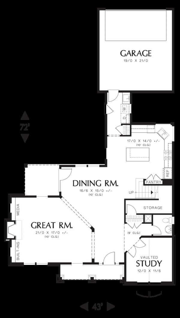 Craftsman Floor Plan - Main Floor Plan Plan #48-577
