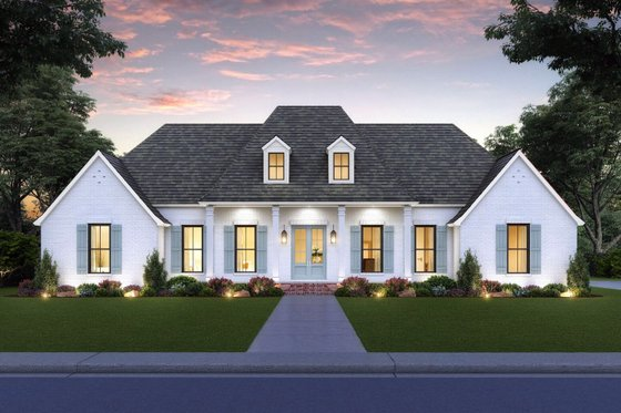 House Blueprint - Southern Exterior - Front Elevation Plan #1074-33