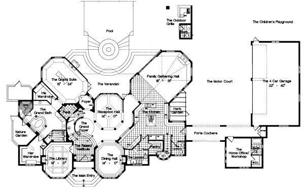 European Floor Plan - Main Floor Plan Plan #417-448
