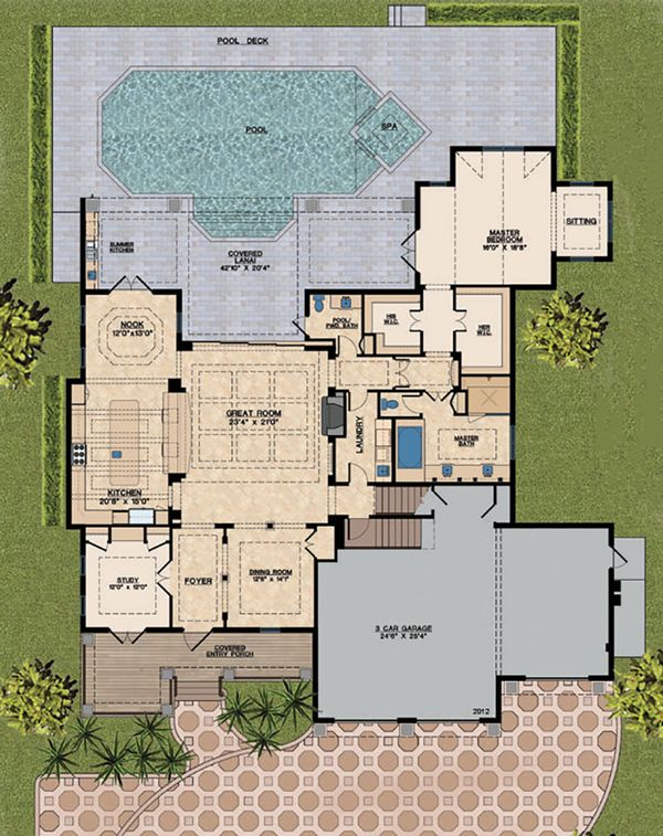 Mediterranean Floor Plan - Main Floor Plan Plan #548-14