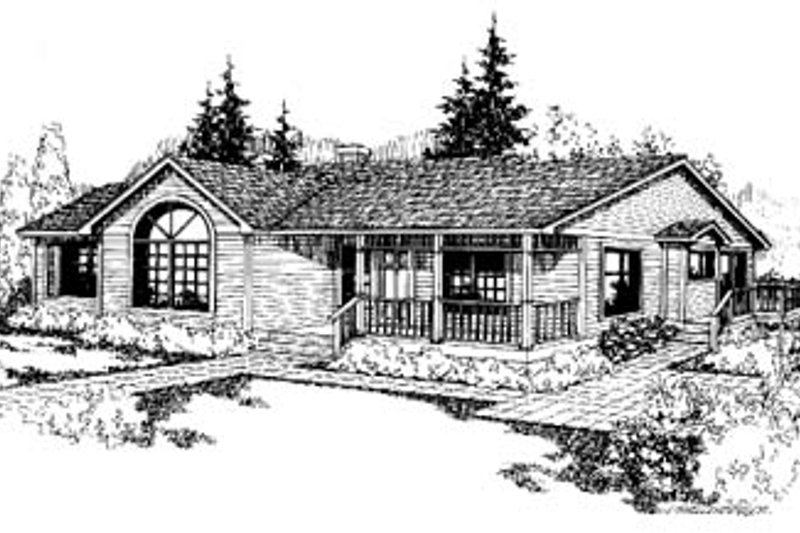 Ranch Exterior - Front Elevation Plan #60-125 - Houseplans.com