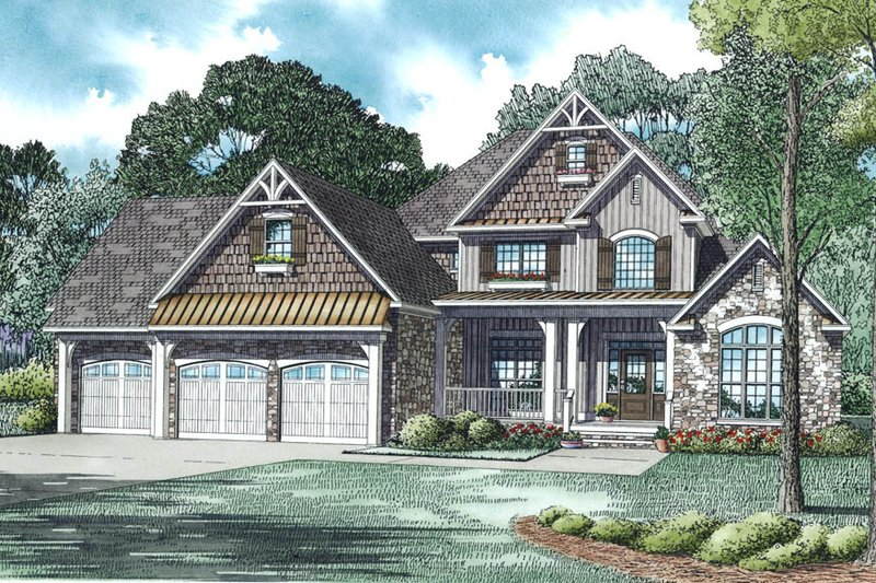 Craftsman Style House Plan - 4 Beds 4 Baths 2860 Sq/Ft Plan #17-2492 Exterior - Other Elevation