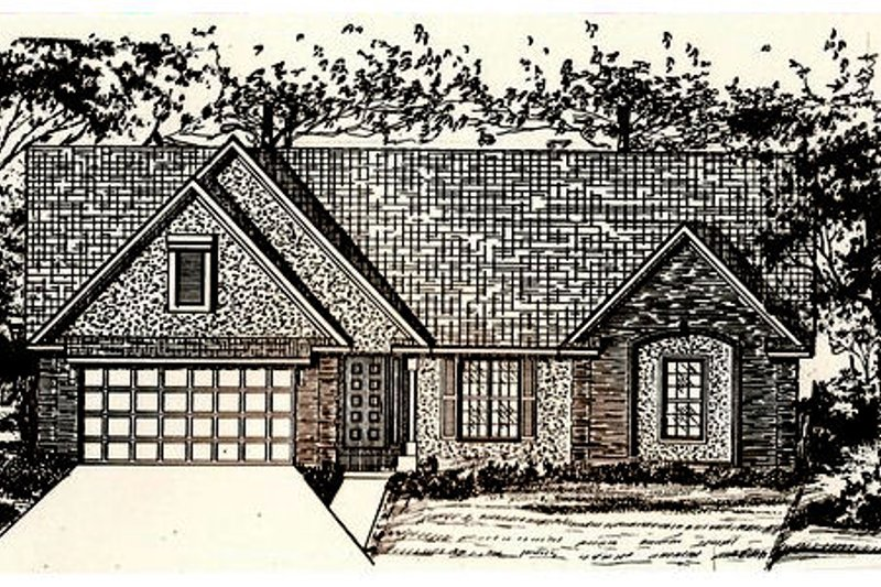Traditional Style House Plan - 3 Beds 2 Baths 1920 Sq/Ft Plan #405-171 Exterior - Front Elevation