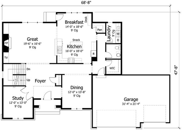 Traditional Floor Plan - Main Floor Plan Plan #51-404