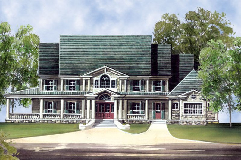 Southern Style House Plan - 5 Beds 5.5 Baths 5083 Sq/Ft Plan #119-198 Exterior - Front Elevation