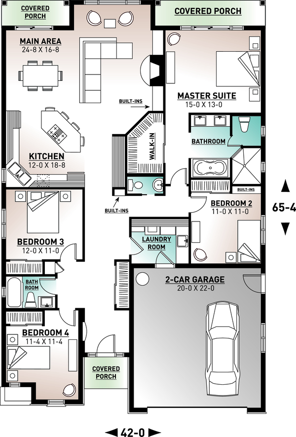 Mediterranean Floor Plan - Main Floor Plan #23-2215