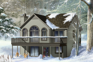 Cabin Exterior - Front Elevation Plan #25-4329