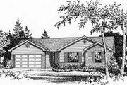 Ranch Style House Plan - 3 Beds 2 Baths 1323 Sq/Ft Plan #22-530 Exterior - Front Elevation
