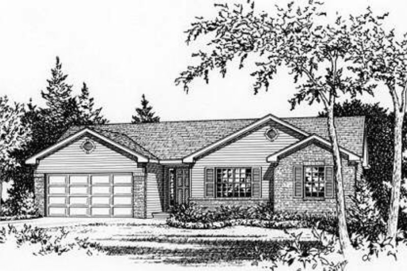 Ranch Style House Plan - 3 Beds 2 Baths 1323 Sq/Ft Plan #22-530