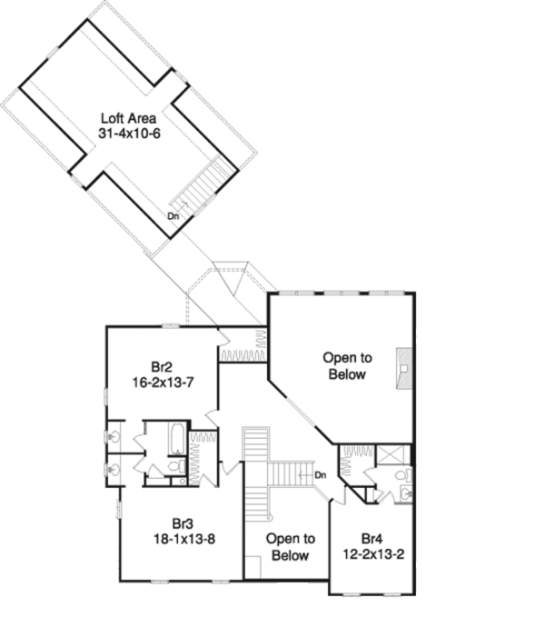 Country Floor Plan - Upper Floor Plan Plan #57-628