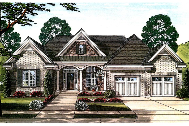 European Exterior - Front Elevation Plan #46-858