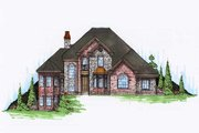 European Style House Plan - 5 Beds 3.5 Baths 2831 Sq/Ft Plan #5-191 Exterior - Front Elevation