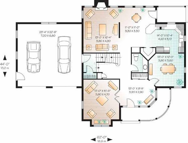 Architectural House Design - Victorian Floor Plan - Main Floor Plan #23-2345