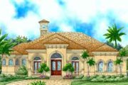 Mediterranean Style House Plan - 3 Beds 3 Baths 3043 Sq/Ft Plan #27-319 Exterior - Front Elevation