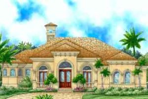Mediterranean Exterior - Front Elevation Plan #27-319