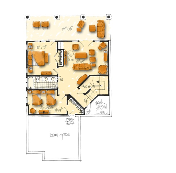 Cabin Floor Plan - Lower Floor Plan Plan #942-40