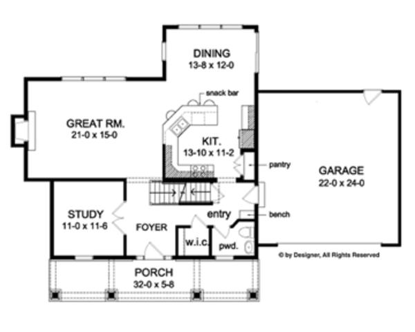 Colonial Floor Plan - Main Floor Plan Plan #1010-47