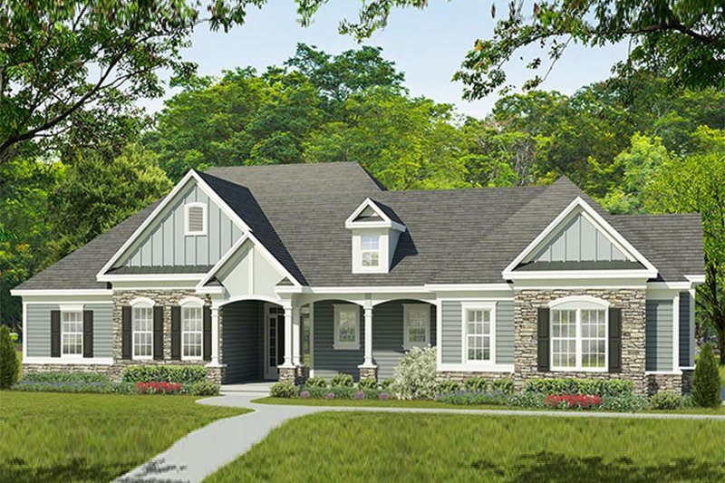 Dream House Plan - Ranch Exterior - Front Elevation Plan #1010-195