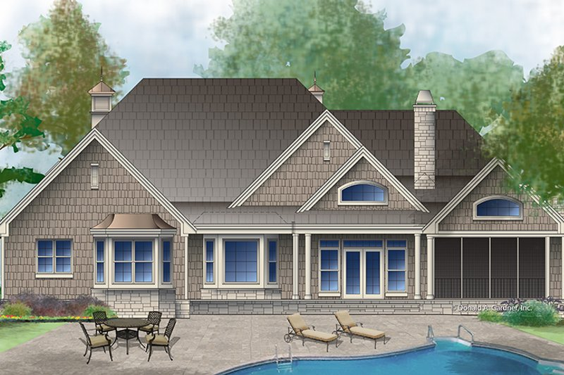 Tudor Exterior - Rear Elevation Plan #929-990 - Houseplans.com