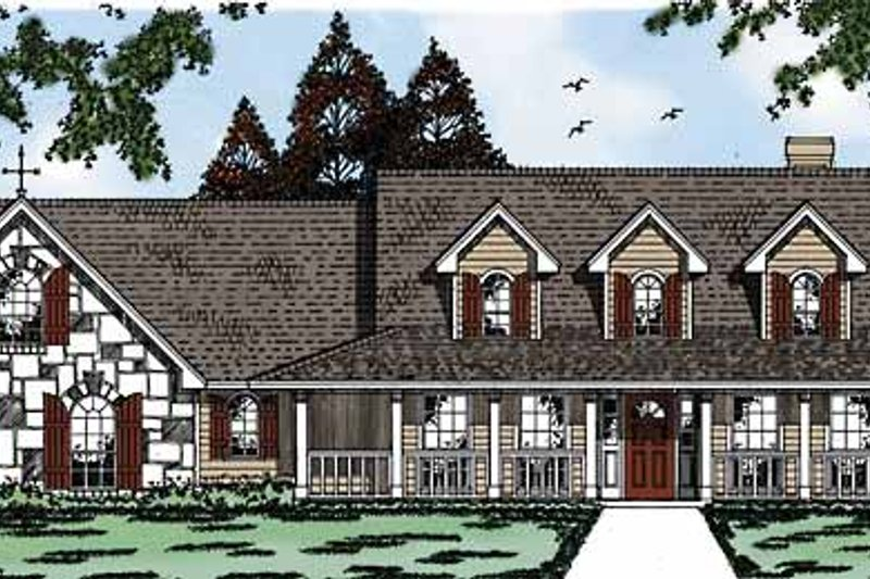 Country Exterior - Front Elevation Plan #42-579