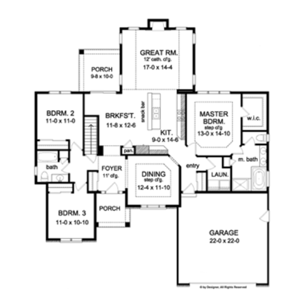 Ranch Floor Plan - Main Floor Plan Plan #1010-45