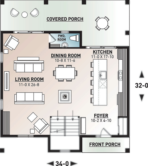 Modern Floor Plan - Main Floor Plan Plan #23-2682