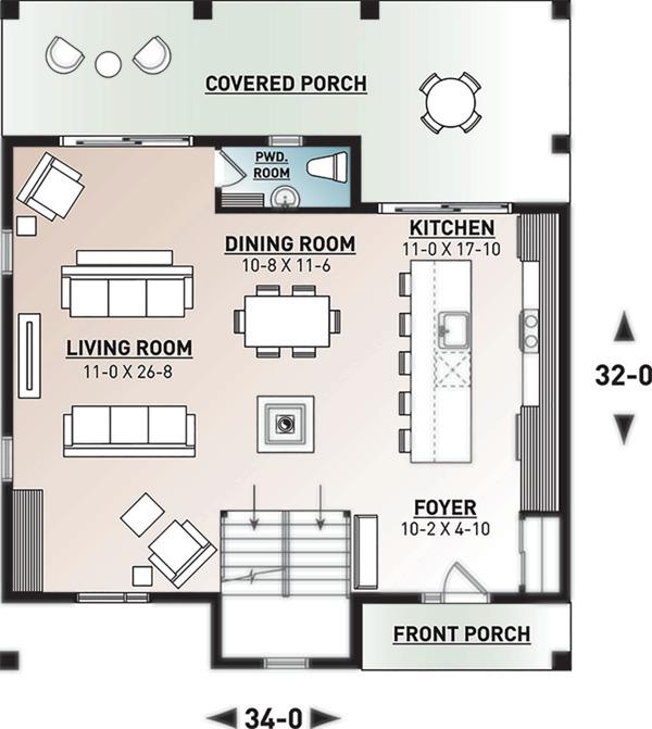 Home Plan - Modern Floor Plan - Main Floor Plan #23-2682