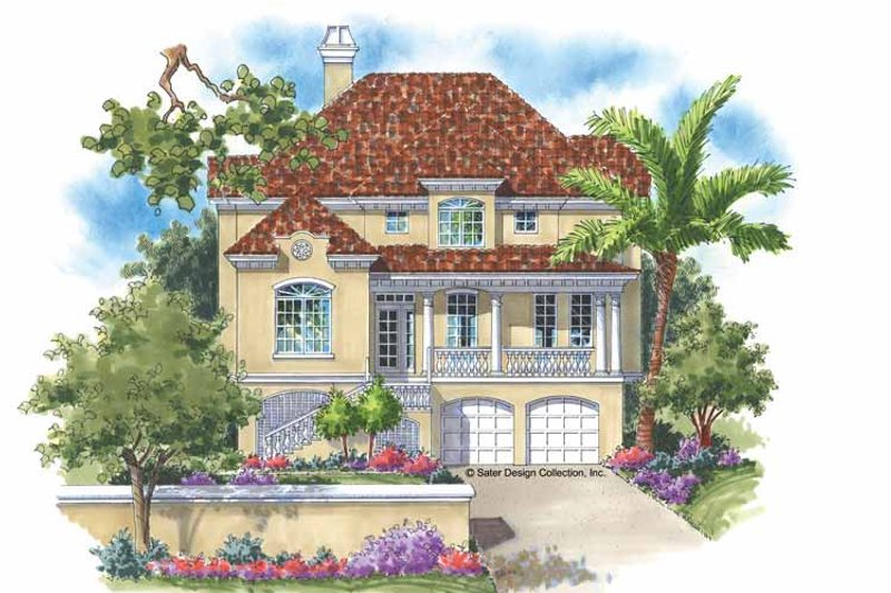 Mediterranean Exterior - Front Elevation Plan #930-120