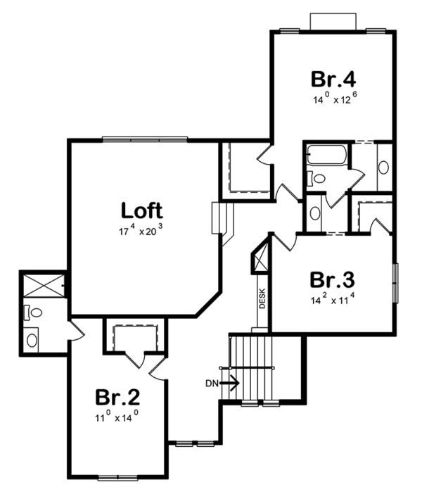 European Floor Plan - Upper Floor Plan Plan #20-2245