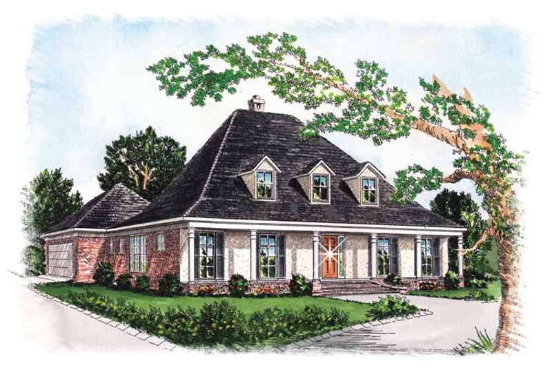Colonial Exterior - Front Elevation Plan #15-305