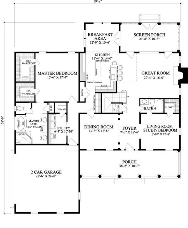 Dream House Plan - Cape Cod style house plan, main level floorplan