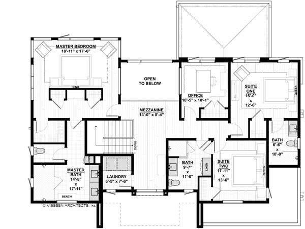 Contemporary Floor Plan - Upper Floor Plan #928-353