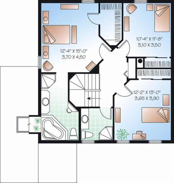 Colonial Floor Plan - Upper Floor Plan Plan #23-839