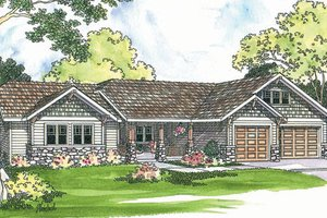 Ranch Exterior - Front Elevation Plan #124-371