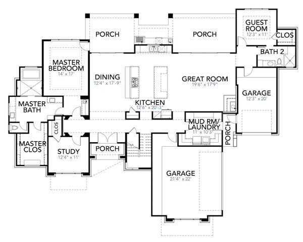 Contemporary Style House Plan - 4 Beds 4 Baths 3727 Sq/Ft Plan #80-217 Floor Plan - Main Floor Plan