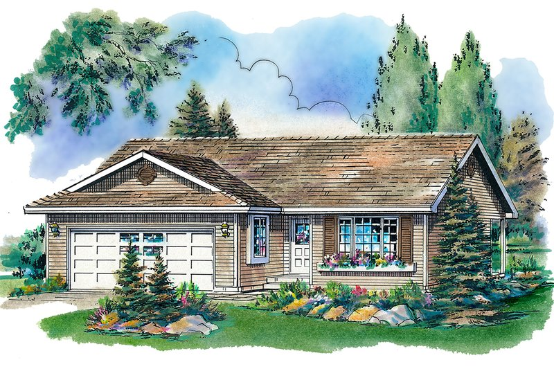 Architectural House Design - Ranch Exterior - Front Elevation Plan #18-1012