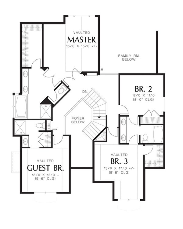 Craftsman Floor Plan - Upper Floor Plan Plan #48-173