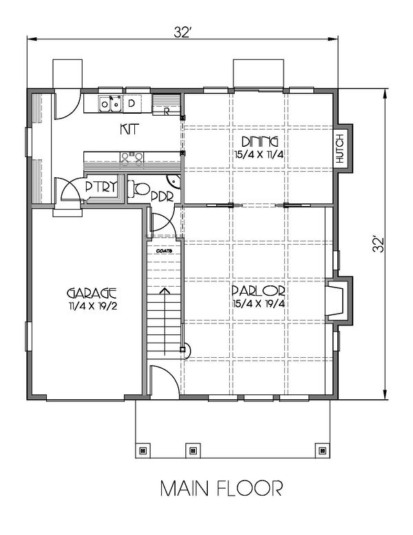 Craftsman Floor Plan - Main Floor Plan Plan #423-64