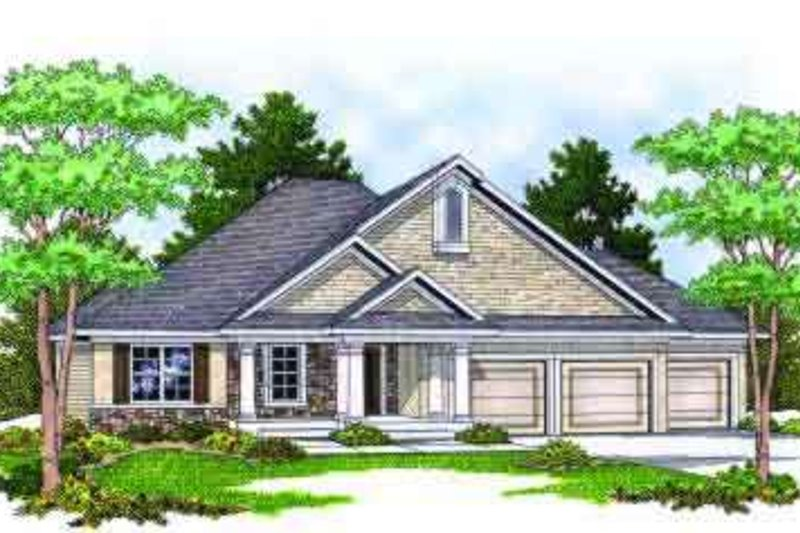 Country Style House Plan - 3 Beds 2 Baths 1904 Sq/Ft Plan #70-670 Exterior - Front Elevation