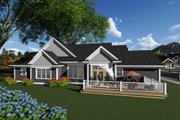 Ranch Style House Plan - 4 Beds 2 Baths 2357 Sq/Ft Plan #70-1275 Exterior - Rear Elevation