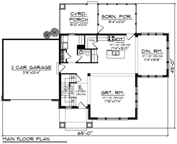 Craftsman Floor Plan - Main Floor Plan Plan #70-1224