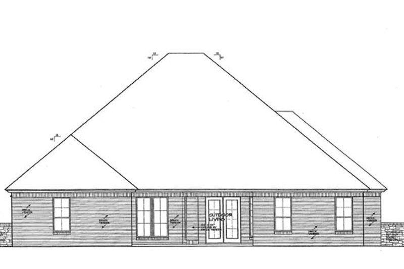 European Exterior - Rear Elevation Plan #310-1274 - Houseplans.com