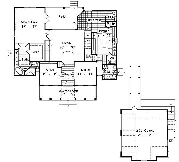 European Floor Plan - Main Floor Plan Plan #417-278