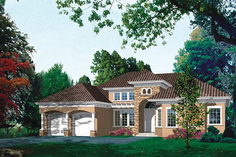 Mediterranean Exterior - Front Elevation Plan #417-811 - Houseplans.com