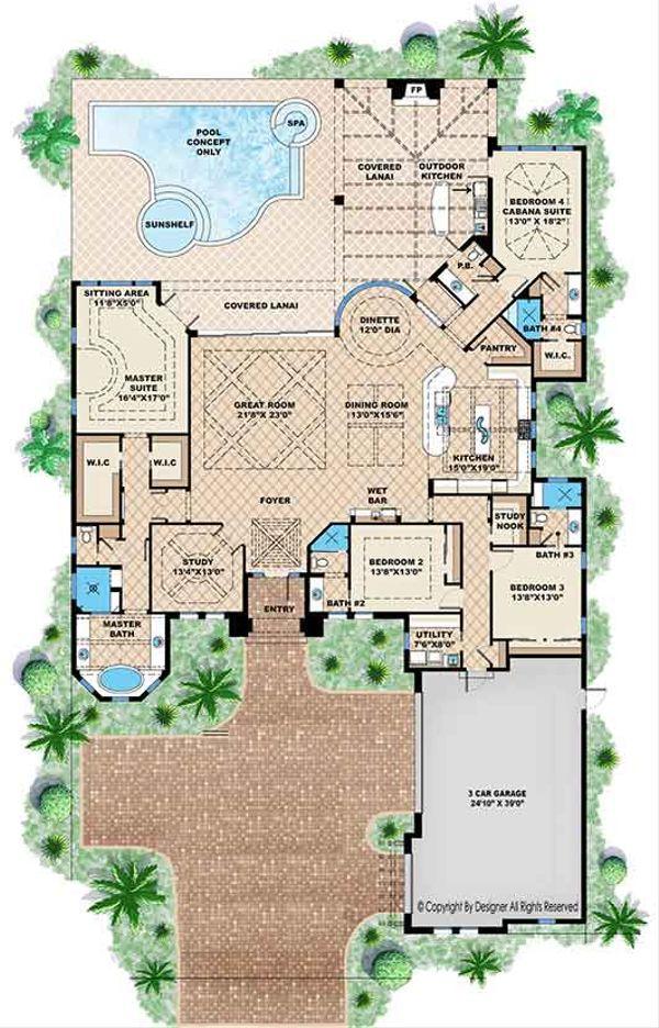 Mediterranean Floor Plan - Main Floor Plan Plan #1017-165
