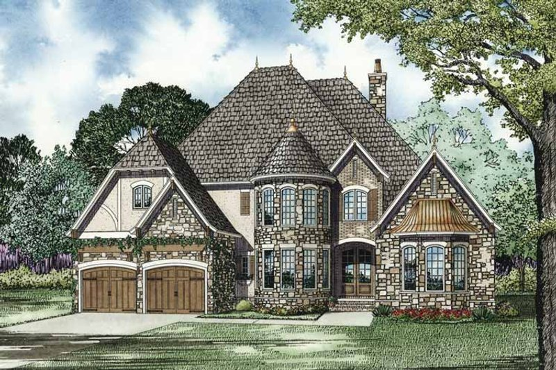 European Exterior - Front Elevation Plan #17-3278 - Houseplans.com